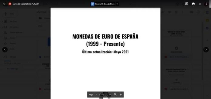 Descarga Lista en PDF monedas euro españa