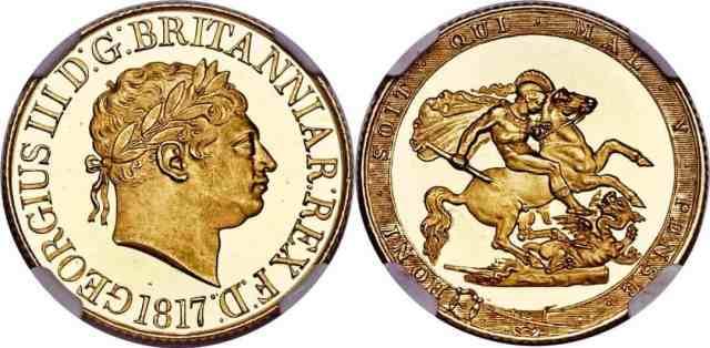 Reino Unido Soberano 1817 Proof Jorge III