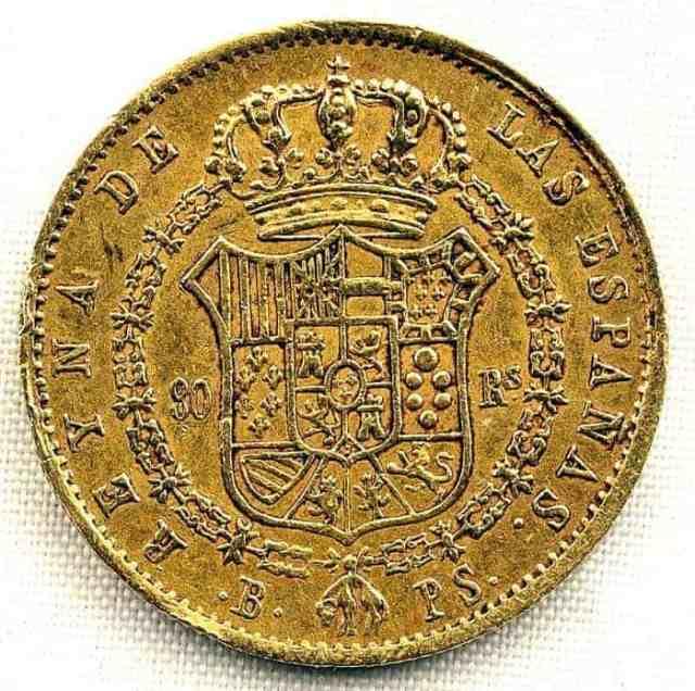 80 Reales Barcelona Isabel II 1841 Anverso