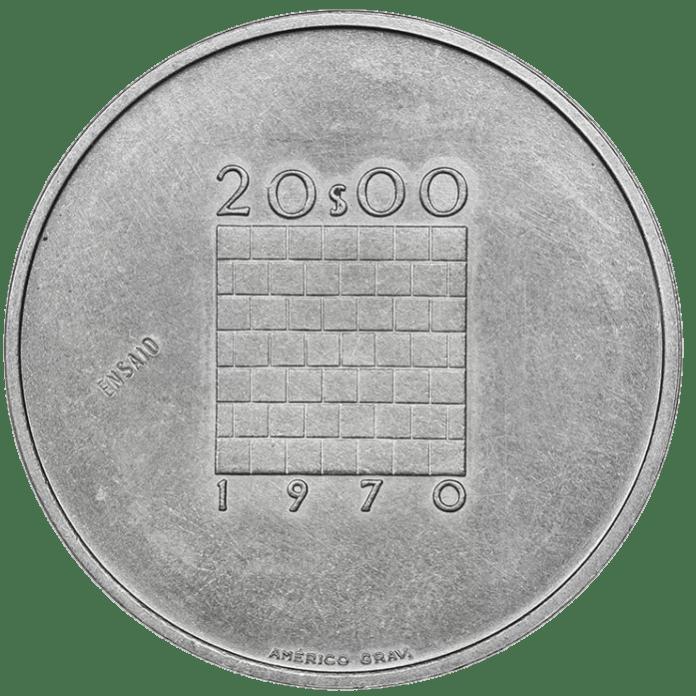 20 Escudos 1970 Portugal Rev