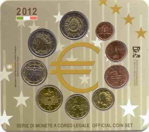 Cartera Anual Italia 2012 2€ Conmemorativos 10 Años del Euro