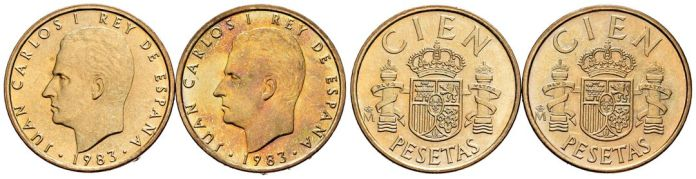 100 pesetas 1983 lis arriba y abajo