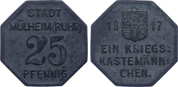 Notgeld 25 Pfennig Mülheim 1917