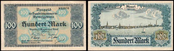 Notgeld Billete Memel 100 Marks 1922