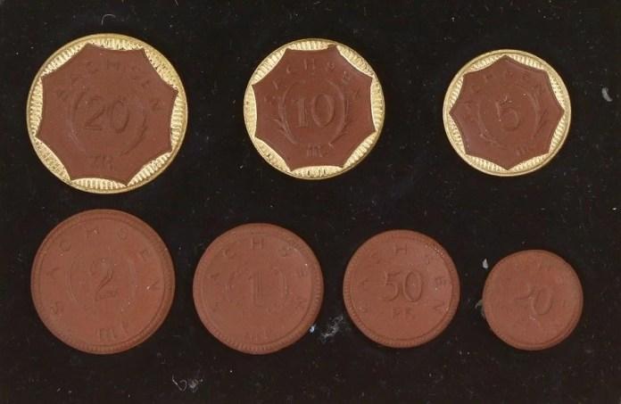 Serie de Monedas Notgeld Porcelana Sajonia 1921