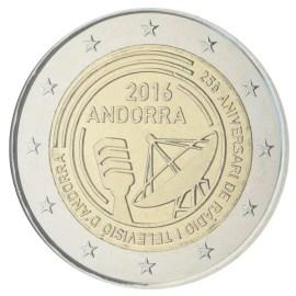 Moneda Conmemorativa de 2 Euros de Andorra 2016 - 25 Aniversario de la Radio y Televisión de Andorra