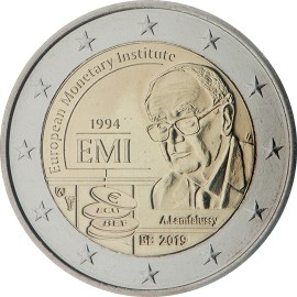 Moneda Conmemorativa de 2 Euros de Bélgica 2019 - 25 Años del Instituto Monetario Europeo