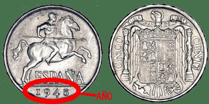 5 Céntimos 1945 Caballo