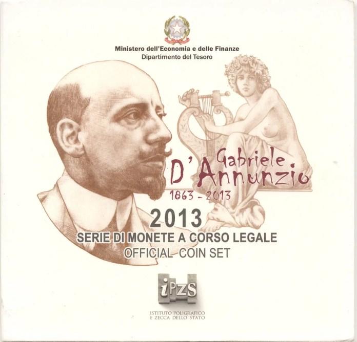 Cartera Gabiele D'Annunzio Moneda Conmemorativa de 2 Euros de Italia 2013 - Bicentenario del Nacimiento de Giuseppe Verdi