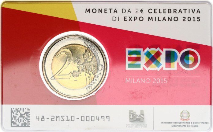Coincard Moneda Conmemorativa de 2 Euros de Italia 2015 - Expo 2015 en Milán