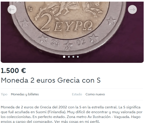 Anuncio Wallapop 2 Euros Grecia 2002 S Valor Precio
