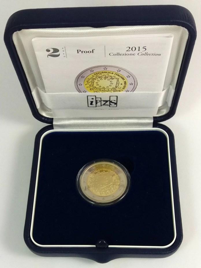 Estuche Individual Proof Moneda Conmemorativa de 2 Euros de Italia 2015 - Conmemorativa Común por el 30 Aniversario de la Bandera de Europa