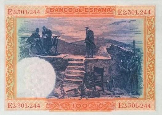 100 Pesetas 1925 Reverso