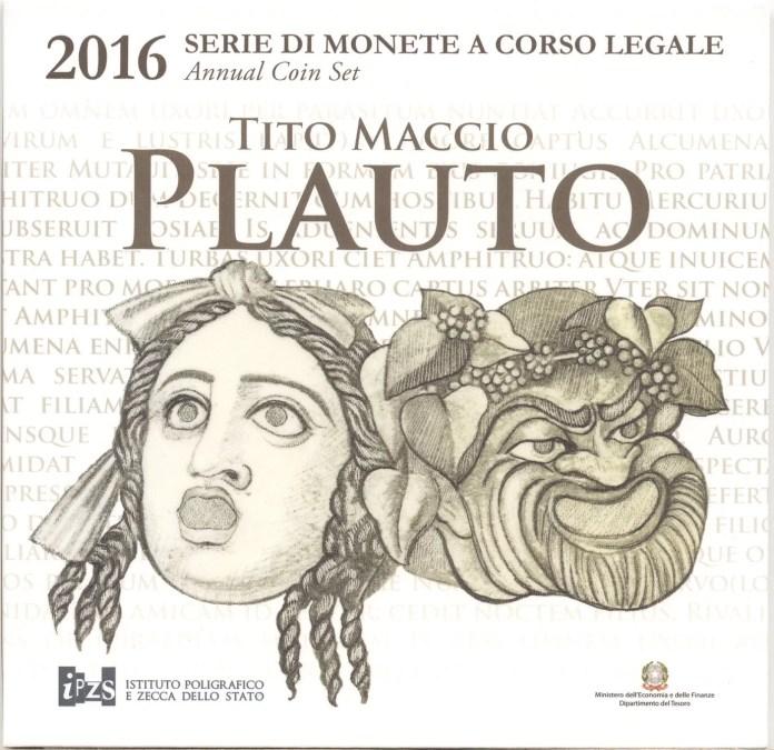 Cartera Anual Moneda Conmemorativa de 2 Euros de Italia 2016 - 2200 Años de la Muerte de Plauto