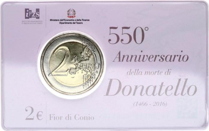 Coincard Moneda Conmemorativa de 2 Euros de Italia 2016 - 550 Años de la Muerte de Donatello