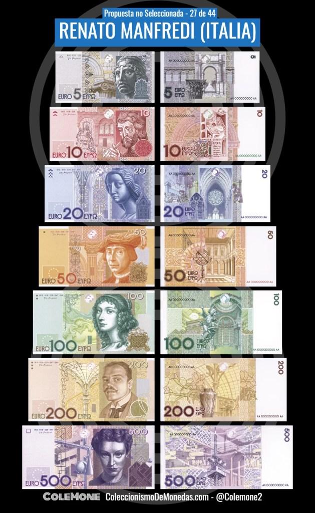 Diseño Perdedor Billete Euro 27 Manfredi