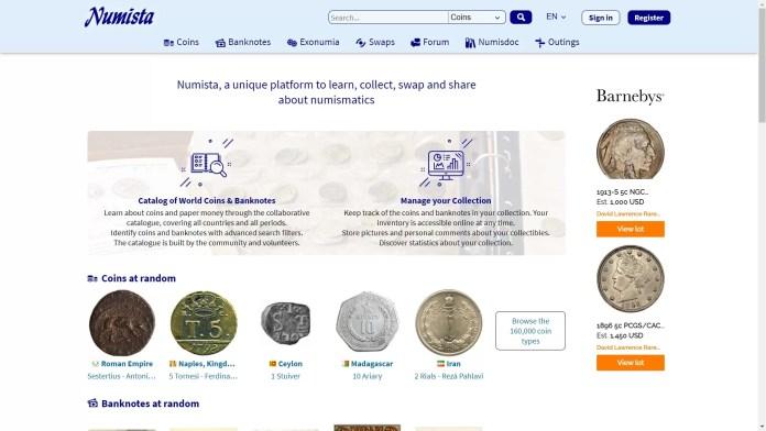 Página de intercambio de monedas - numista