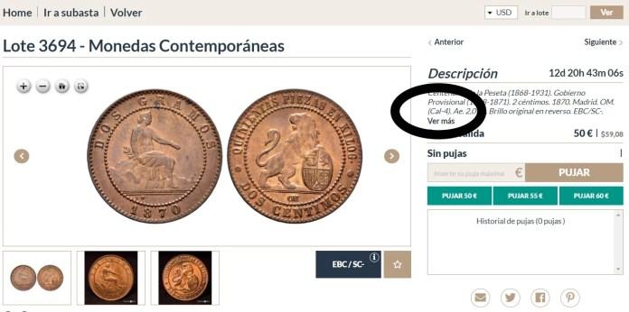 cal moneda española en subasta