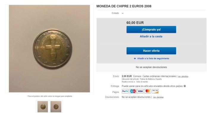 2 Euros Chipre 2008 Valor y Precio Falso