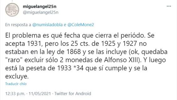 Centenario de la peseta replica tweet