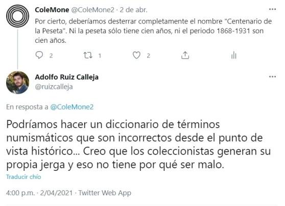 Tweet centenario de la peseta