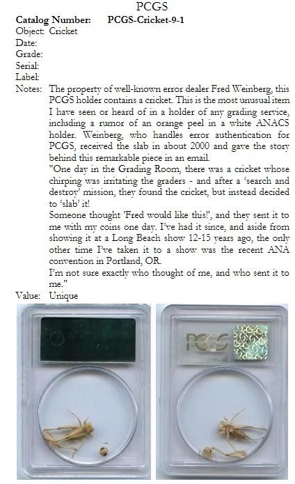 Grillo PCGS Libro Sample Slabs