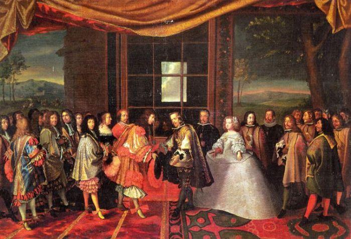 «La entrevista de Luis XIV y Felipe IV de España en la Isla de los Faisanes»  Jacques Laumosnier (1659)
