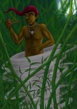 Saci Pererê - O mais conhecido saci do Brasil, tem apenas a perna direita, anda sempre em redemoinho e tem no gorro a fonte de seu poder.
