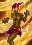 Saci Poá - Saci ligado ao elemento fogo, com os olhos sempre em chamas. Odoberto o fez tendo o cachimbo como catalizador de sua magia.