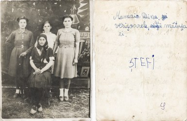 Patru femei, 1945. Mamaia Dina și verișoarele și mătușa ei. Ștefi Costică Acsinte din casele noastre Arhiva personală Maura Aron, Grivița