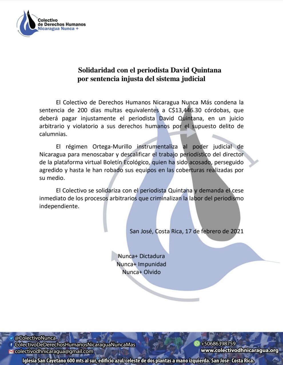 Pronunciamiento David Quintana