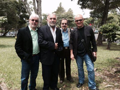 Andrés Posada, Germán Cáceres, Manuel de Elías y Eddie Mora. XIII Seminario de Composición. 17 al 24 de julio de 2014. Universidad de Costa Rica