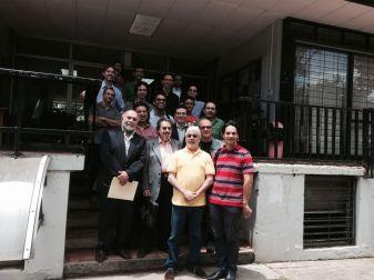 Germán Cáceres, Manuel de Elías, Andrés Posada, Eddie Mora y Darwin Aquino, con estudiantes de Composición del Conservatorio de Música, Universidad de Costa Rica. 2014