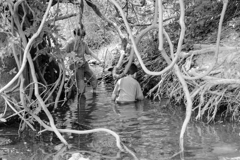 Playing with Clem in a creek