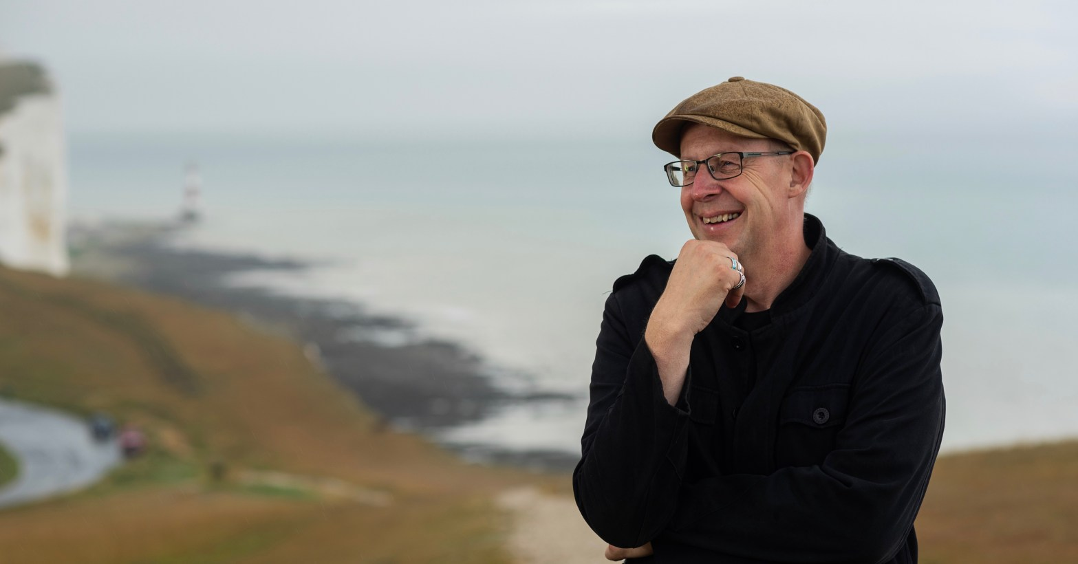 Cole Moreton award-winning author, journalist and broadcaster pictured at Beachy Head where his novel The Light Keeper is set