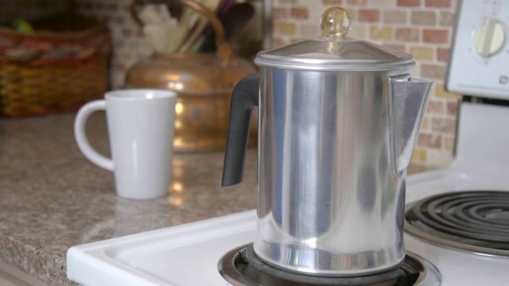 Stovetop percolator in kitchen.