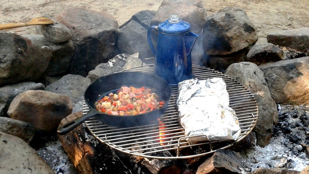 If you have a cast iron skillet and a small coffee percolator, the possibilities for camping breakfasts are endless.