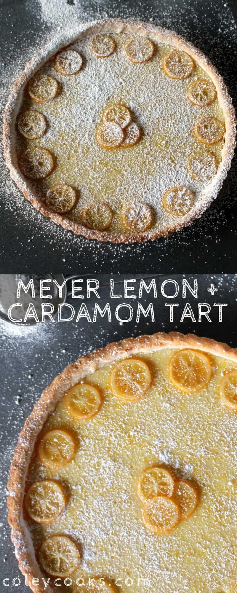 This Meyer Lemon and Cardamom Tart showcases one of my favorite flavor pairings of all time: Meyer lemon and cardamom. A bright, citrusy tart that's perfect for spring. #easy #lemon #cardamom #tart #recipe #citrus #dessert | Coleycooks.com