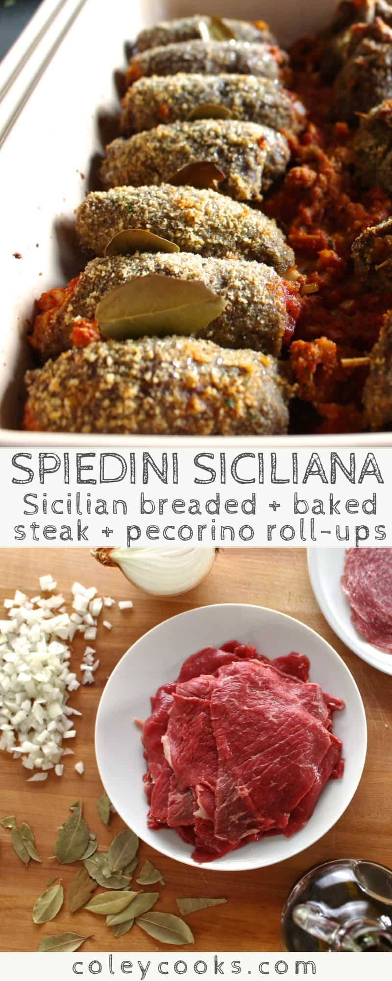 Spiedini Siciliana | My family's authentic Sicilian recipe for spiedini. Thinly sliced beef, breaded + stuffed with tomatoes, cheese and onions. Great holiday recipe! #easy #christmas #recipe #appetizer #holidays #beef #Sicilian | ColeyCooks.com
