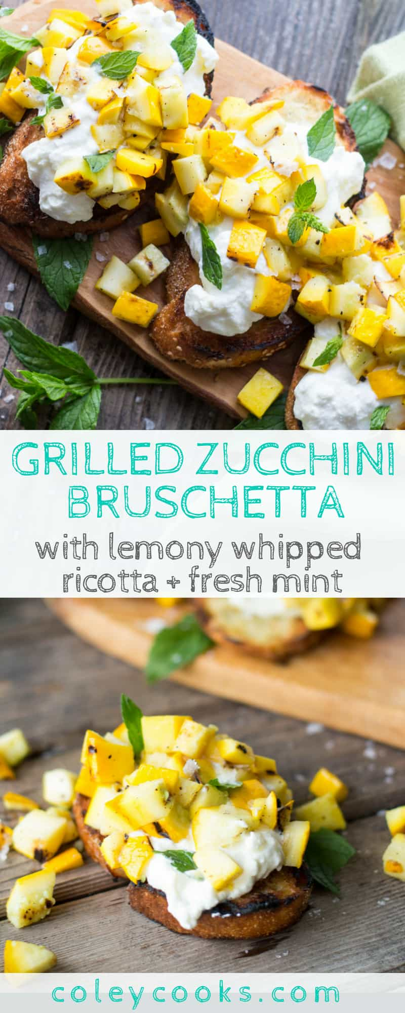 GRILLED ZUCCHINI BRUSCHETTA with WHIPPED RICOTTA + MINT | This easy summer appetizer is made with grilled zucchini, lemony whipped ricotta, and fresh mint piled on grilled Italian bread. #appetizer #zucchini #crostini #recipe #summer | ColeyCooks.com