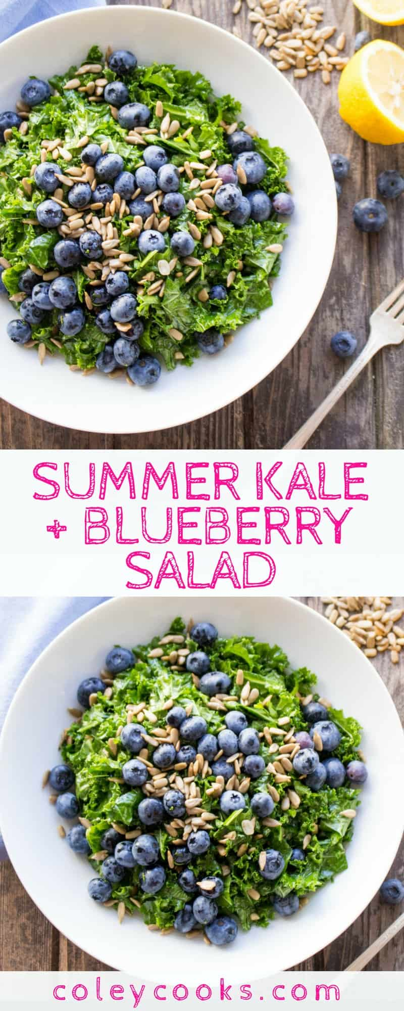 SUMMER KALE + BLUEBERRY SALAD | Easiest ever summer salad recipe with a simple honey lemon vinaigrette, crunchy sunflower seeds, sweet blueberries and massaged kale! #glutenfree #vegan #plantbased #paleo | ColeyCooks.com