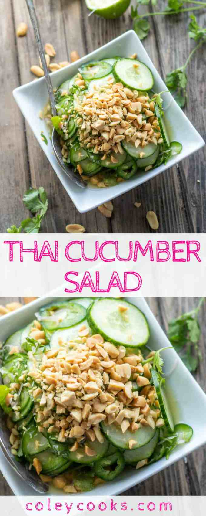 THAI CUCUMBER SALAD   This easy summer salad recipe is light, crisp, and loaded with Thai flavor! Spicy from jalapeños and great crunch from roasted peanuts. #plantbased #recipe #Thai #cucumber #salad #summer   ColeyCooks.com