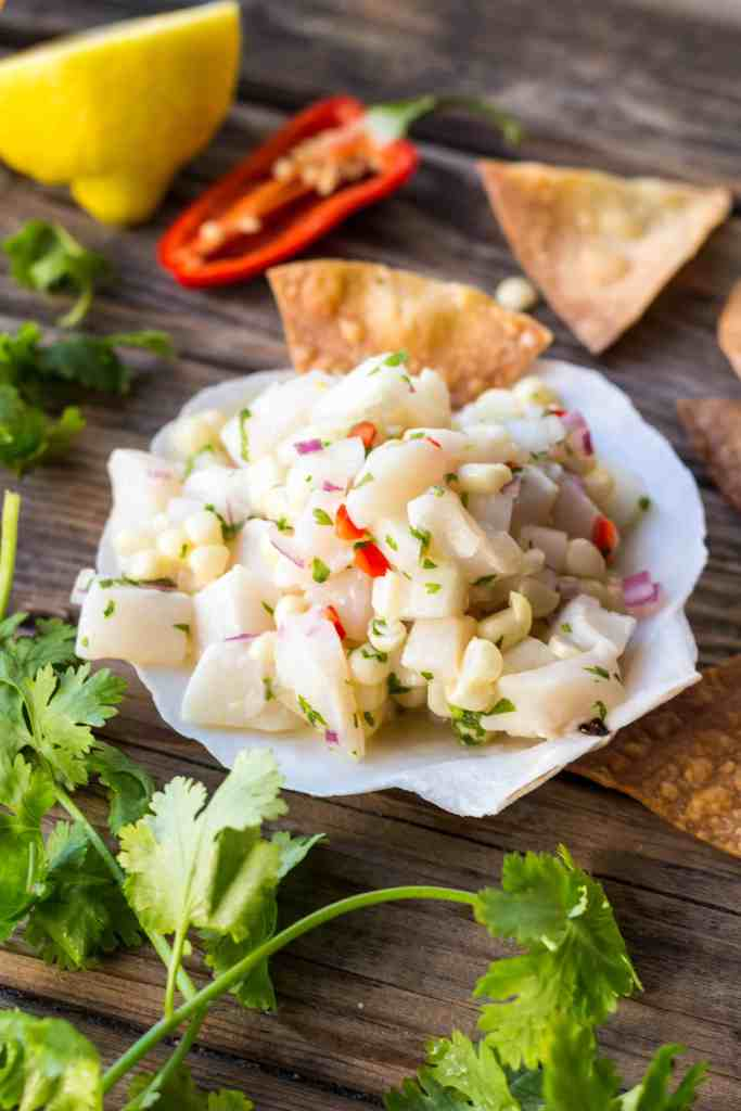 Scallop Ceviche with Corn + Cucumber