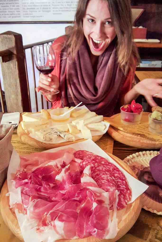 meats and cheese at la baita, Bologna, Italy