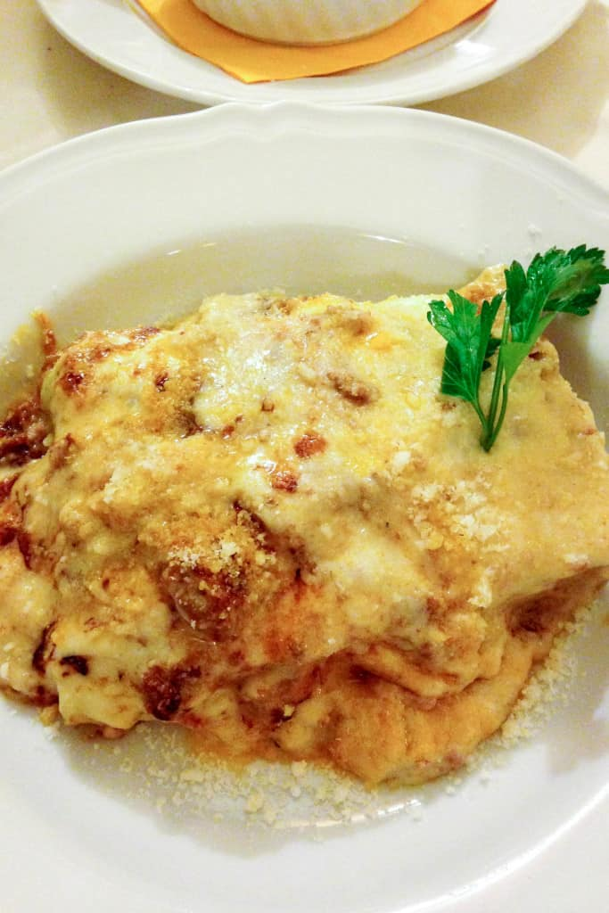 the most amazing lasagna in Bologna, Italy
