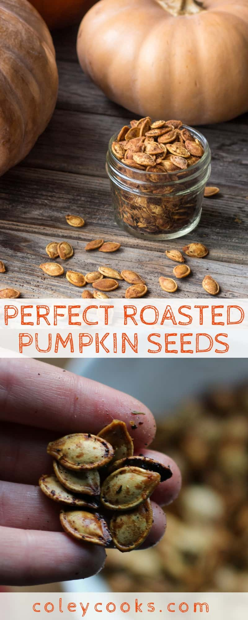 PERFECT ROASTED PUMPKIN SEEDS | This foolproof way for roasting pumpkin seeds produces the crunchiest, best pumpkin seeds ever! #pumpkin #pumpkinseeds #pumpkincarving #recipe #method #technique #blanching #seeds | ColeyCooks.com