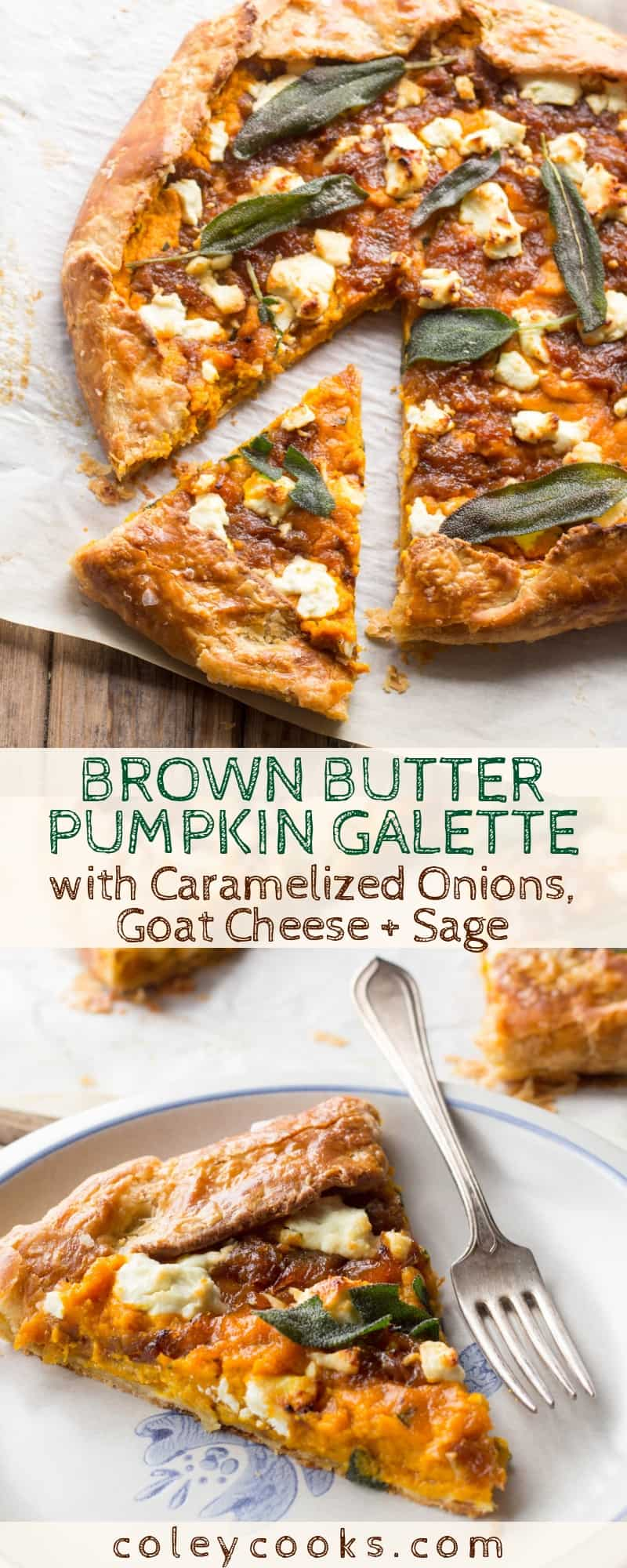 Brown Butter Pumpkin Galette with Caramelized Onions, Goat Cheese + Sage | This amazing savory pie recipe makes the best Thanksgiving appetizer! #thanksgiving #recipe #appetizer #side #pumpkin #pie #savory #brownbutter | ColeyCooks.com