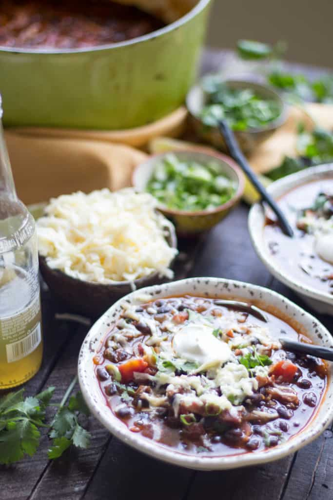 Black Bean Soup with Bacon + Beer