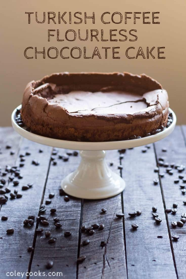 This Flourless Chocolate Cake recipe flavored with coffee and cardamom for a unique twist on a simple chocolate cake. It's gluten free and crazy easy to make! #easy #chocolate #cake #recipe #cardamom #turkish #coffee #flourless #glutenfree #easy #simple | ColeyCooks.com