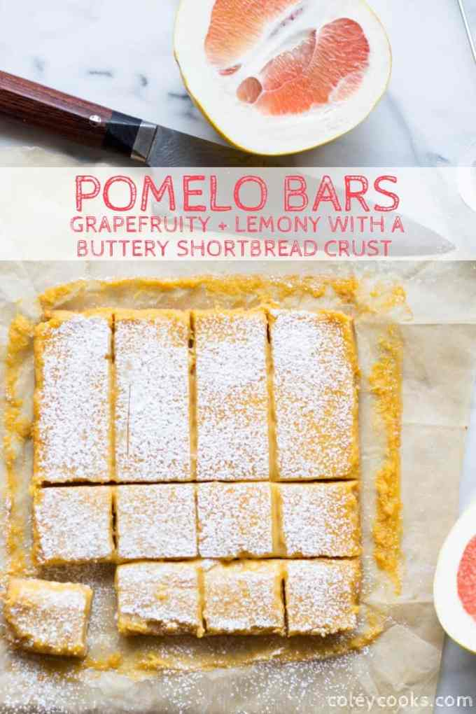 These bright, citrusy Pomelo Bars are like lemon bars only made with pomelo, which is similar to grapefruit. These Pomelo Bars have the best shortbread crust and a tangy, bitter-sweet citrus curd on top. #lemon #bars #citrus #pomelo #grapefruit #easy #dessert #recipe #shortbread | ColeyCooks.com
